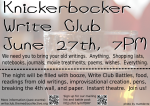 Mug of Beer Write Club Poster 2011-06-27